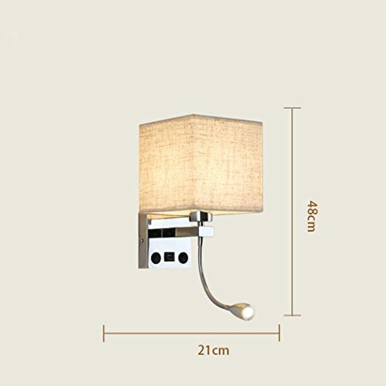W&HH Nordamerikanisches Gewebe-Wandlicht, europische kreative Nachttisch-Wandlampe führte Leselicht für Studienraum-Hotel-Schlafzimmer-Beleuchtung,D,Doublespotlight