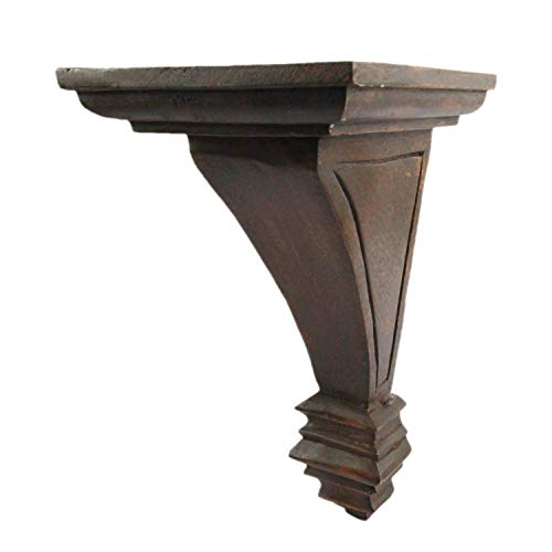 CinMin 10.25' Handcarved Art Deco Corbel Wood Wall Bracket/Floating Shelf (Torino-Oak Finish)