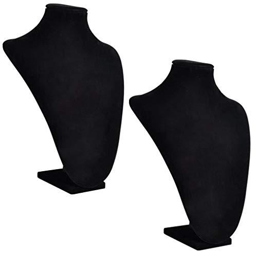 vidaXL 2X Expositor de Collares Joyas en Forma de Busto Franela Negro Soporte