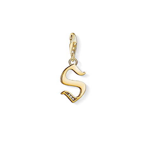Thomas Sabo Damen-Charm-Anhänger R Buchstabe Gold Charm Club 925 Sterling Silber 1624-414-39