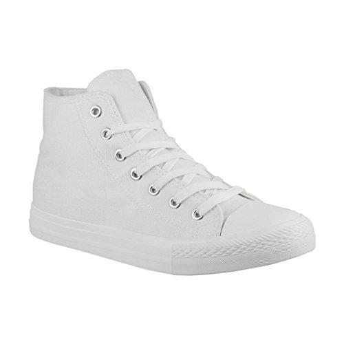 Elara Unisex Sneaker Sportschuhe für Herren Damen High Top Turnschuh Textil Chunkyrayan E-8-Allwhite-43