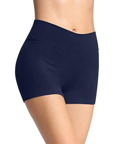 4How Damen Shorts Sommer Unterrock kurz eng Sport Shorts Sporthose Radlerhose Fitness Pole Yoga Shorts Tanzen Hotpants Volleyball Shorts Blau S