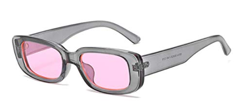 Yhui Kleine Rechthoek Zonnebril Vrouwen Grijs Roze Transparant Zonnebril Vintage Mannen Shades UV