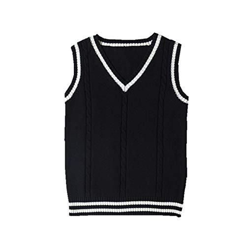 SERAPHY Maglione Giacca di Cotone Caldo Senza Maniche Donna Costume Cosplay Classico Gilet Scolastico Giacca Scollo av Uniforme Maglieria Uniforme-Nero-L