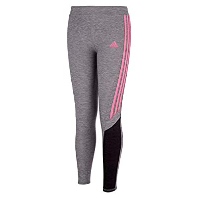 adidas Girls' Active Sports Athletic Legging Tight, Core Fav Charcoal Grey/Pink, 3T from adidas