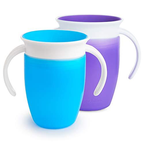 Munchkin Miracle 360°- Vaso Antiderrames Entrenamiento con Asas, azul/morado, 207ml, 2 uds