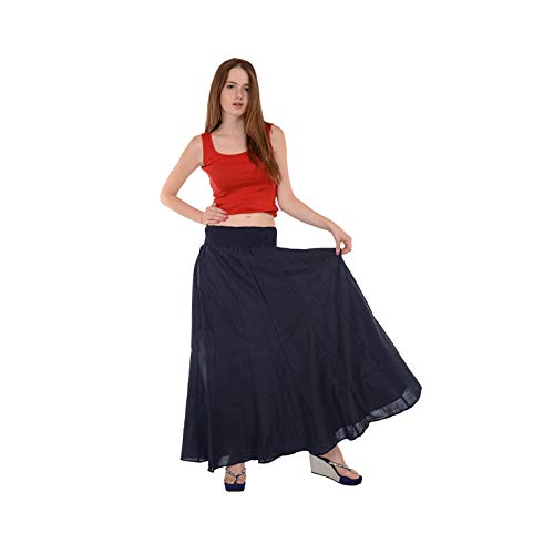 SNS - Falda larga de algodón puro para playa, Azul oscuro, Talla única