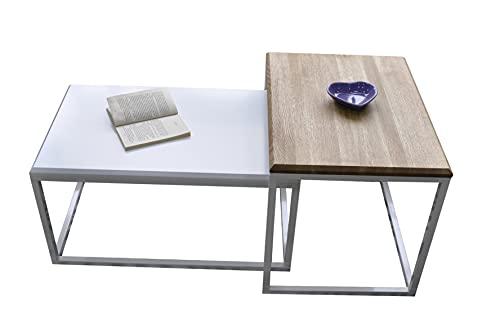 Lumarc Palermo, 2er Set Couchtisch aus Massivholz Natur Eiche im Industrial Minimalistisch Design, Rechteckig, 72x45x37 cm / 45x60x47 cm (Weiß)
