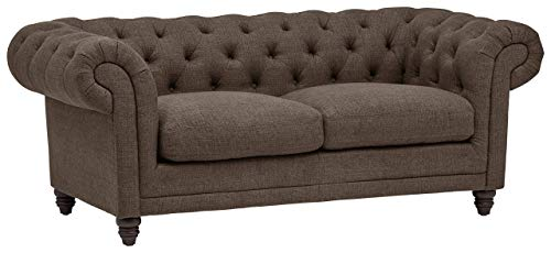 Amazon Brand – Stone & Beam Bradbury Chesterfield Tufted Loveseat Sofa Couch, 78.7'W, Warm Grey