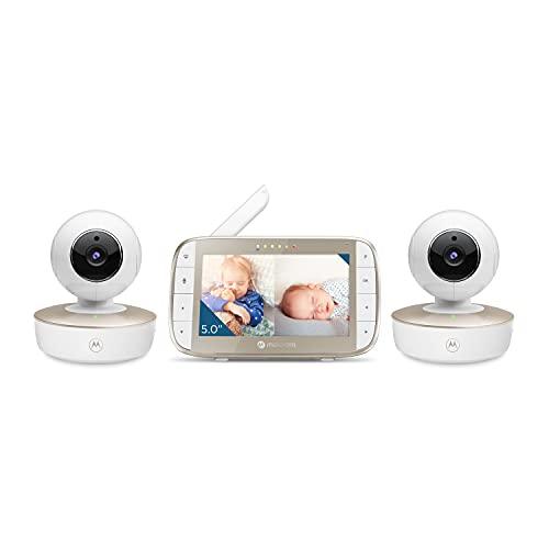 Motorola Baby Monitor - VM50G Video Baby Monitor with 2 Cameras, 1000ft Range 2.4 GHz Wireless 5' Split Screen, Two-Way Audio, Remote Pan, Tilt, Zoom, Room Temperature Sensor, Lullabies, Night Vision