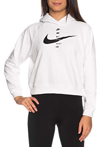 Nike W NSW Swsh Hoodie FLC BB Hooded Long Sleeve Top Donna, Donna, CU5676 101 (M, Bianco/Nero)