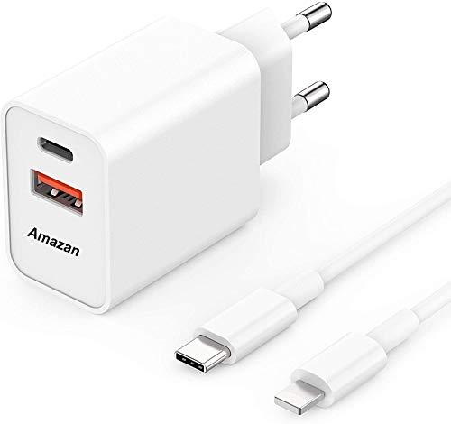 Amazan 18W USB-C Schnellladegerät, unterstützt PD & QC 3.0 Schnellladeprotokoll, kommt mit Ladekabel, kompatibel mit iPhone, Pad Pro, earPods, Galaxy, Pixel 4/3