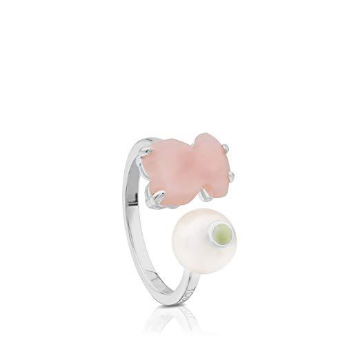 TOUS AnilloErma de plata de primera ley con ópalo rosa y perla con jaspe color limón