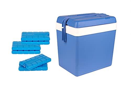 Kühlbox 24 Liter blau/weiß inkl. 6 Kühlakkus - Bis zu 11 Std. Kühlung - Thermobox aus Kunststoff - Outdoor Kühltasche für Camping, Picknick, Grillen & Garten
