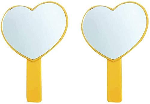 Leilims Miroir de Poche 2pcs Petit Coeur en Forme de Maquillage Miroir Miroir Voyage Portable en Plastique for Les Femmes (Color : Orange)