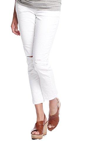 Queen Mum Damen ⅞ Umstands-Jeans Schwangerschafts-Jeans Denim stützendes Bauchband normaler Bund Slim-Fit Sommer-Hose weiß Gr. 32