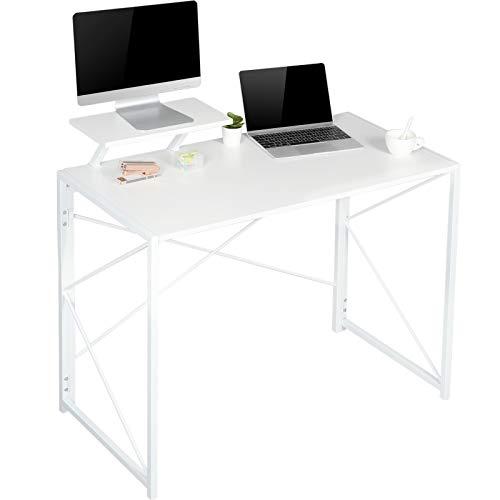 MSmask Schreibtisch mit beweglichem Monitoraufsatz, Klapptisch Computertisch Schreibtisch, platzsparend (Weiß)