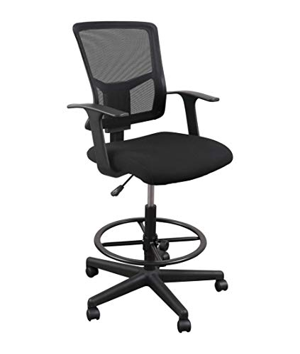 Stand Up Desk Store Sit to Stand Drafting Task Stool Chair for Standing Desks with Adjustable Footrest and Armrests (Black)