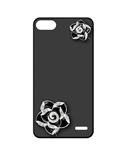 Sunrive Kompatibel mit Blackview A7 Hülle Silikon,Glitzer Diamant Strass Handyhülle matt Schutzhülle Etui 3D Case Backcover (Schwarze Blume) MEHRWEG+Gratis Universal Eingabestift