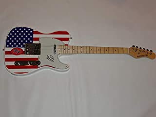 DAVE GROHL SIGNED USA FLAG ELECTRIC GUITAR THE FOO FIGHTERS NIRVINA AUTOGRAPHED PROOF JSA COA