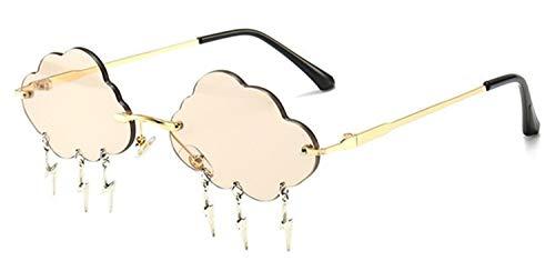 SLAKF Gafas duraderas Gafas de Sol sin Montura del Conductor Mujeres Nubes de la Vendimia de la Borla de Las Gafas de Sol de los Hombres sin Marco de los vidrios UV400 Sombras (Color : Light Brown)