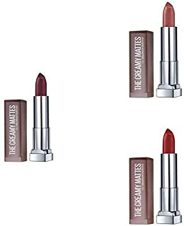 Maybelline New York Color Sensational Creamy Matte Lipstick - Pack of 3 (Burgundy Blush 696, Nude Nuance 657, Rich Ruby 691)