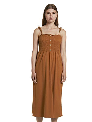 TOM TAILOR Denim Damen Kleider & Jumpsuits Midikleid mit Raffungen Mango Brown,XL,22110,8000