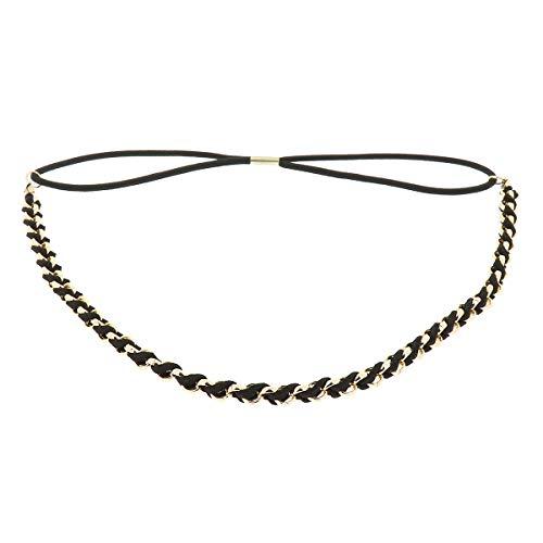 Schwarzes Damen Haarband - Goldenes Suede Geflochtenes Hairband, Samtaspekt - Einheitsgrößer Dünnes Stirnband - Hochzeit Vintage Headband - Original Look Boho, Hippie