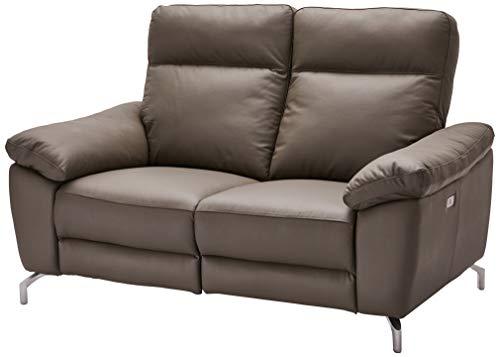 Ibbe Design Grau Leder 2er Sitzer Relaxsofa Couch mit Elektrisch Verstellbar Relaxfunktion Heimkino Sofa Doha mit Fussteil, Federkern, 162x96x101 cm