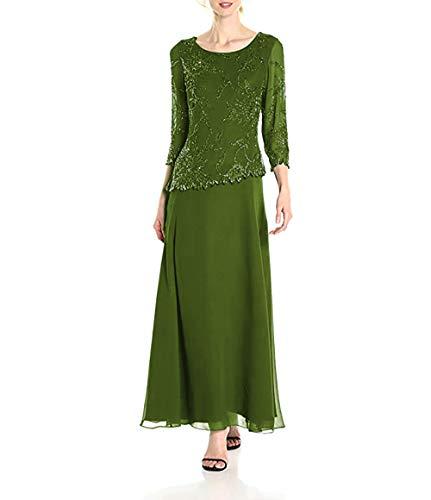 Brautmutterkleider mit Jacke Lang Chiffon Abendkleid Langarm A-Linie Maxikleid Festkleid Grün 52