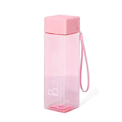 CVMFE Botella Agua Acero Inoxidable Botella De Agua Cuadrada De Plástico Esmerilado Botella De Vidrio para Beber Jugo De Fruta A Prueba De Fugas Deporte Al Aire Libre Viajes Senderismo Camping BOT