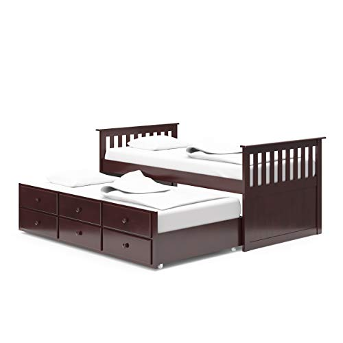 Broyhill Kids Marco Island Captain's Bed with Trundle Bed and Drawers, Twin, Espresso, Twin-Sized Mattress (Not Included), Bunk Bed Alternative, Great for Sleepovers, Underbed Storage/Organization