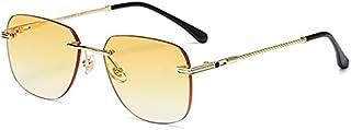 Women's Sunglasses - HBK Square Rimless Sunglasses Women Men Red Mirror Yellow Lens Metal Frame Fashion Vintage Frameless ...
