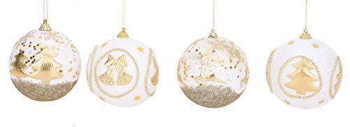 Toyland Confezione Da 4-90Mm Decorated Glitter Baubles - Decorazioni Per Alberi Di Natale (Oro)