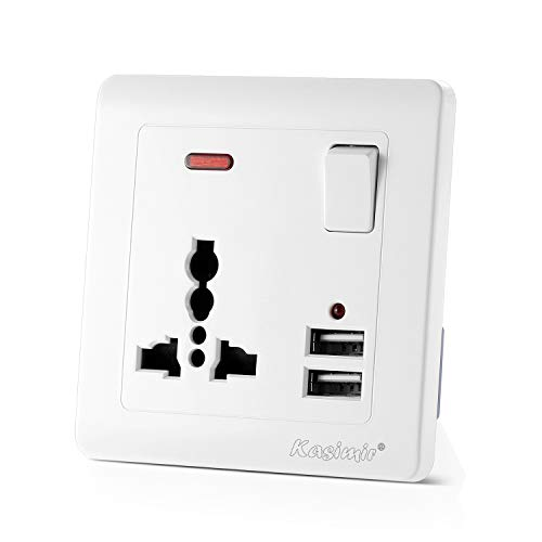 Enchufes de pared, Kasimir Caja de enchufe tipo Schuko con 2 puertos USB 2.1A, se adapta a tomas de corriente estándar, para cargar dispositivos móviles, Smartphone, MP3, Tableta