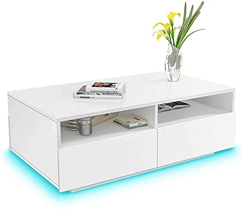 Greensen Tavolo da Salotto, Tavolino Bianco Ufficio, Tavolino Lucido con 4 Cassetti, Tavolino con Illuminazione a LED 16 Colori Tavolino Tavolo in Legno per Ufficio Soggiorno 85 x 56 x 35 cm