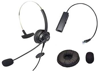 Call Center Hands-Free RJ9 Headset Headphone Monaural Mic Mircrophone Noice Cancelling + Extra Cushions for Avaya Nortel Nt Yealink Ge Emerson Viop POE NEC Mitel Office Desktop IP Telephone Phone