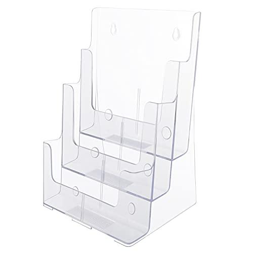 Kurtzy Espositore A4 Porta Depliant da Tavolo in Plastica Trasparente - Porta Brochure A4 da Banco/Tavolo o Parete - Espositore da Tavolo A4 Contenitore Volantini, Menu e Portariviste