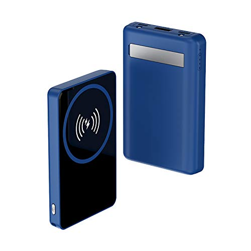 Batería Externa Inalámbrica Magnético 8000Mah con Soporte Portátil, para Iphone 12 Pro Max 12 Mini, 10W Wireless Power Bank Qi Cargador Portátil Carga Rápida (azul)