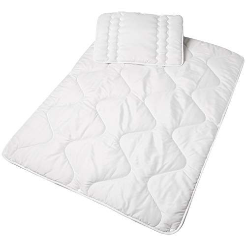 Amazon Basics - Baby-Bettwäsche-Set für das ganze Jahr, 100x135 cm, Weiß
