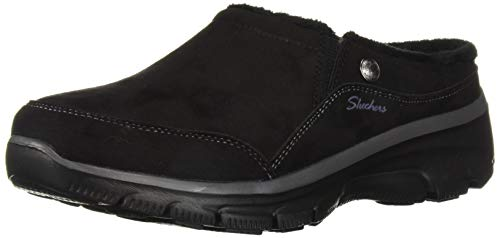 Skechers Women's Easy Going-Latte-Twin Gore Slip-On Open Back Mule, Black, 9.5 M US