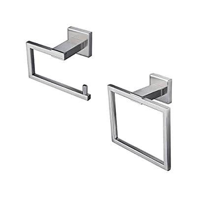 Kenivix 2-Piece Bathroom Hardware Set Toilet Paper Holder Towel Ring Contemporary SUS304 Stainless Steel Wall Mount Accessories Set Brushed Steel
