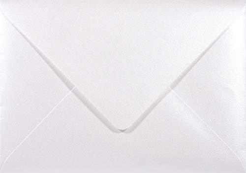 Netuno 25 Perlmutt- Weiße DIN B6 Briefumschläge 120g, 125x175mm, Majestic Marble White, Spitzklappe, ideal für Hochzeit, Geburtstag, Taufe,Weihnachten, Einladungen, Gelegenheitskarten