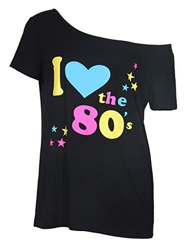 """Smile Fish - Camiseta para mujer de los años 80 con texto """"I Love 80"""", estilo informal, de gran tamaño, para mujer Negro7. XXXXL"""