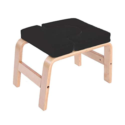 Yoga Headstand Bench Wood Inversion Chair Stool with PU Pads for Workout Home Gym Unisex...