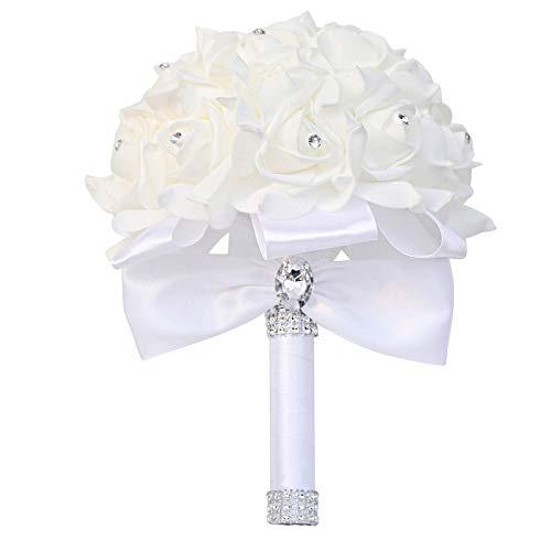 Dfngiq Handheld Wedded Satin Simulation Bouquet Wedding Bridal Catching Body Roller Ramo de Boda Soporte para la Iglesia de la Participación