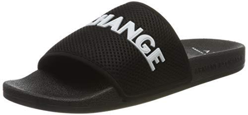 Armani Exchange Mesh Pool Slides, Chanclas Hombre, Negro (Black+White A120), 46 EU