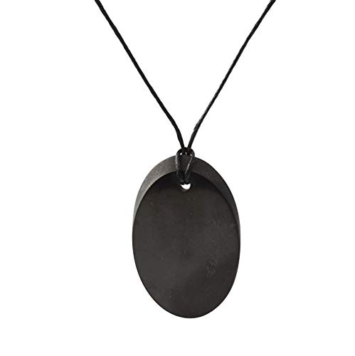 Collar de Shungite con Colgante Diseño Óvalo Pequeño Hecho de Piedra Shungit para Protección Electromagnética | Joyería de Shungita Moderna, Usada para Equilibrar Chakras y Energía | Óvalo Pequeño