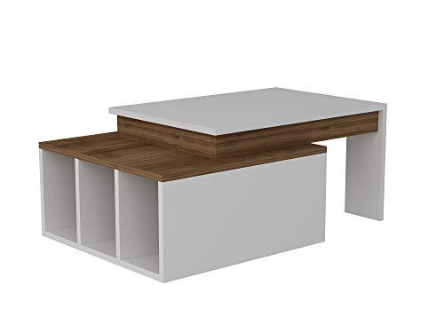 Alphamoebel 2657 Colorado Couchtisch Wohnzimmertisch Sofatisch Kaffeetisch, Tisch für Wohnzimmer, Weiß Walnuss, Holz, mit Ablagefächer, Designertisch, 91,8 x 50 x 37,4 cm