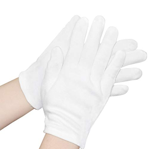 Beaupretty 12 Paires de Gants en Coton Blanc pour Cosmétiques Hydratants Main Spa Pièce Bijoux Argent Photo Inspection Formelle Robe Gants Blanc